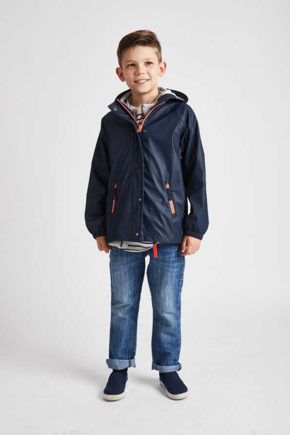 older boys navy rain mac front view