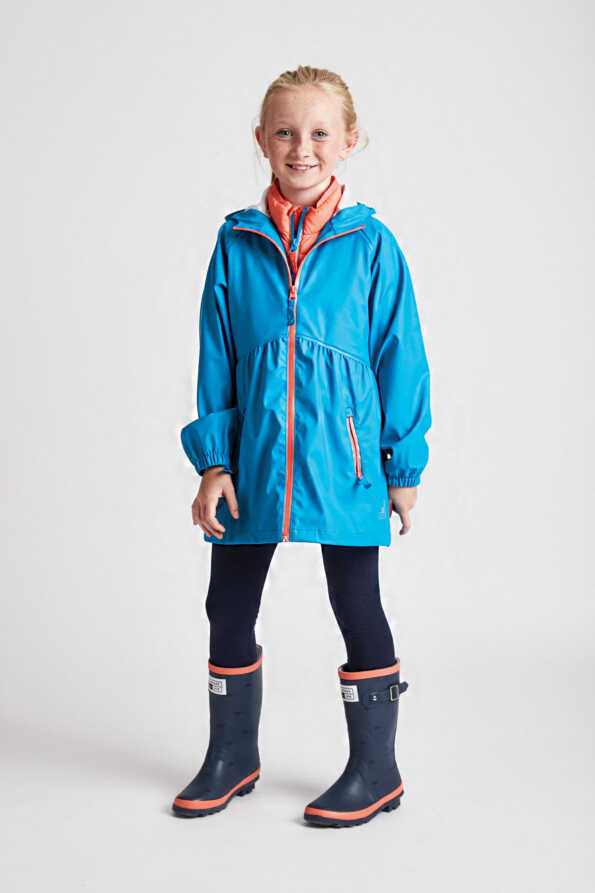 older girls turquoise rain mac with contrast coral zips: front product lifestyle view