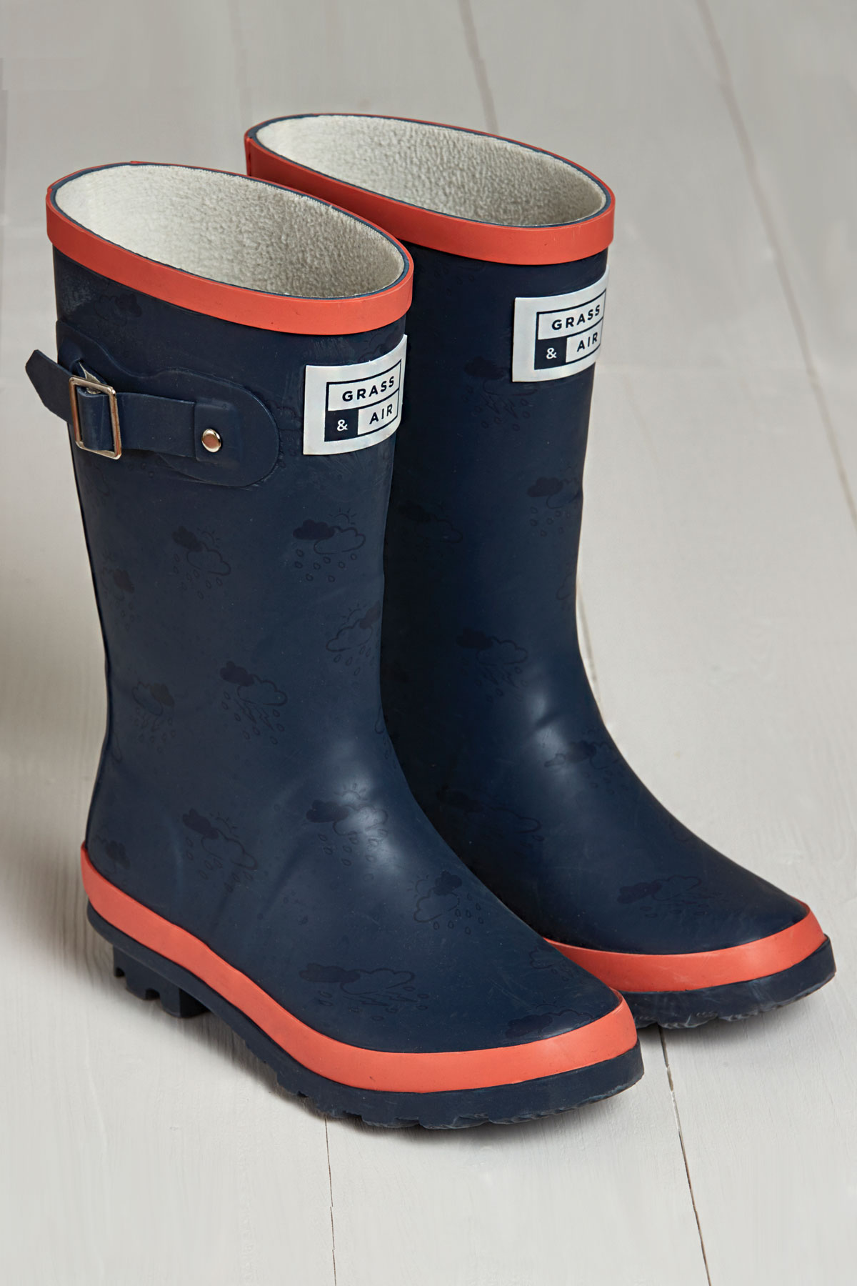 product shot of navy & coral junior wellies