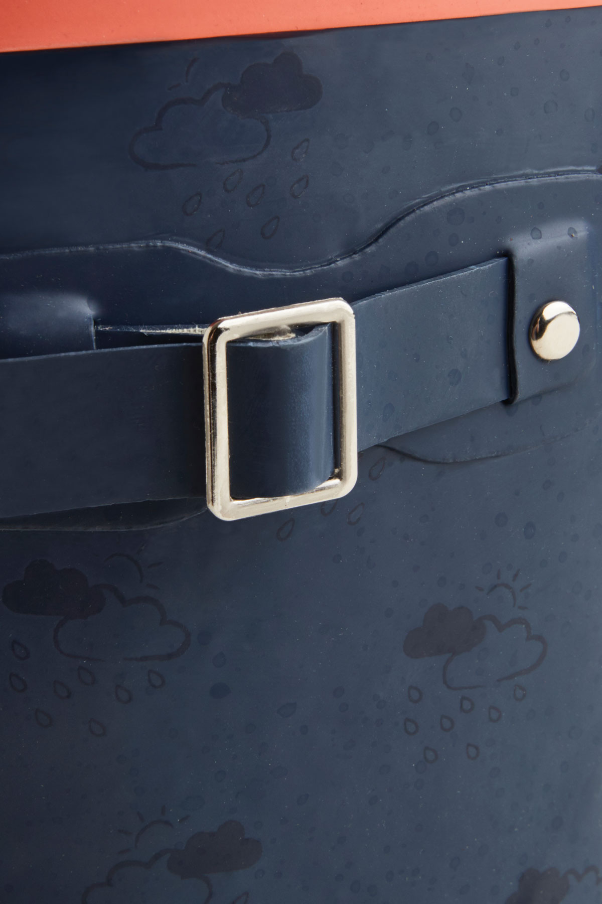 junior navy & coral wellies buckle detail