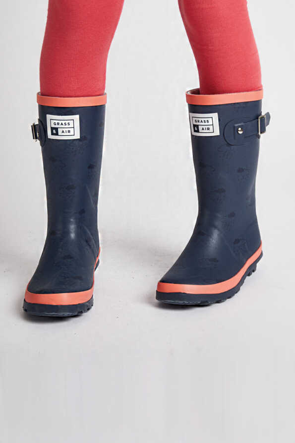 kids junior navy & coral wellies front view