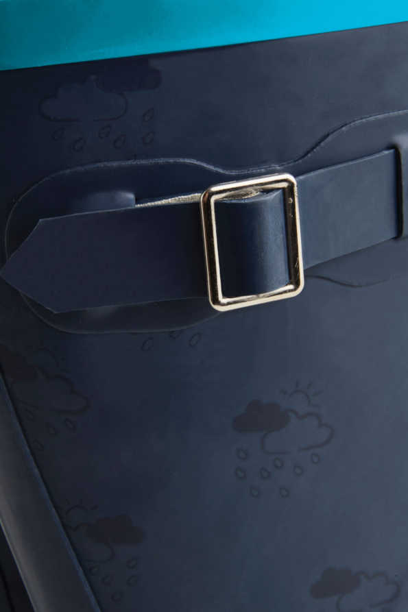 navy & turquoise junior wellies buckle detail