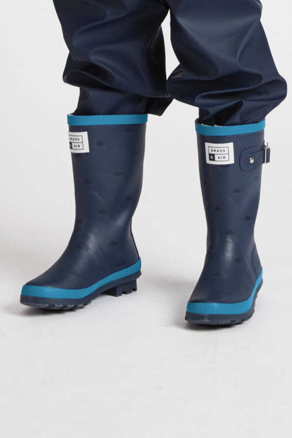 kids junior navy & turquoise wellies front view