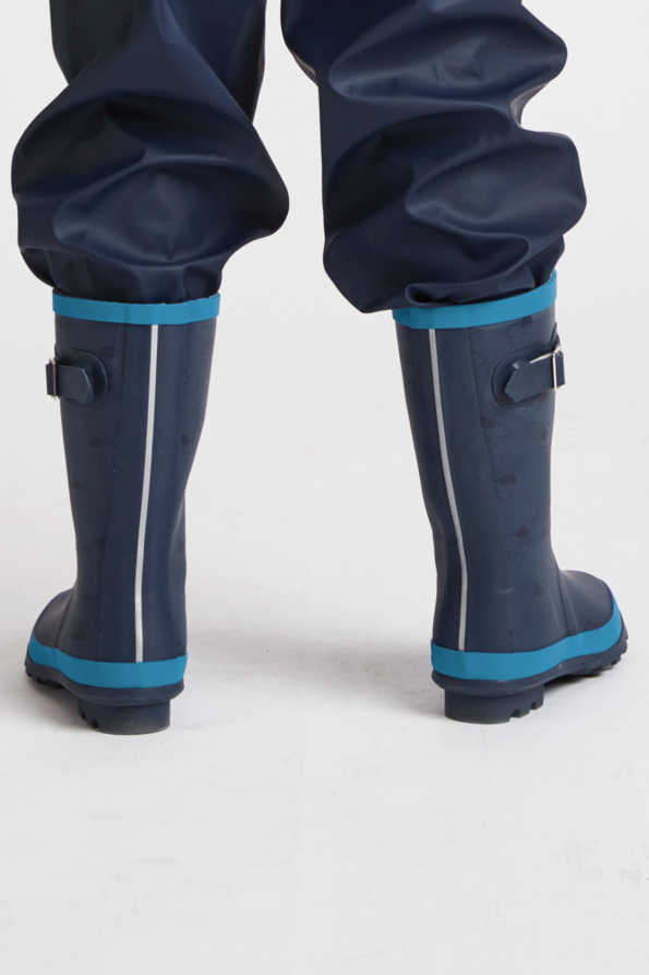 kids navy & turquoise wellies rear view