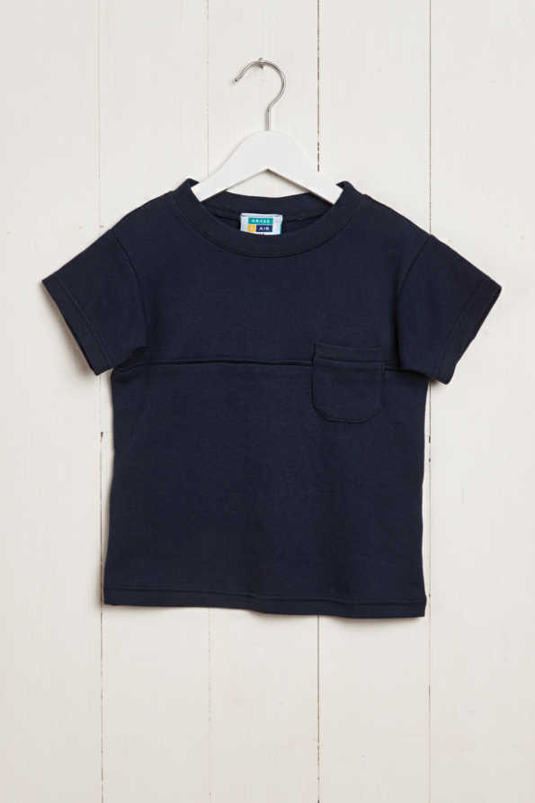 front product hanger shot of navy boys t-shirt