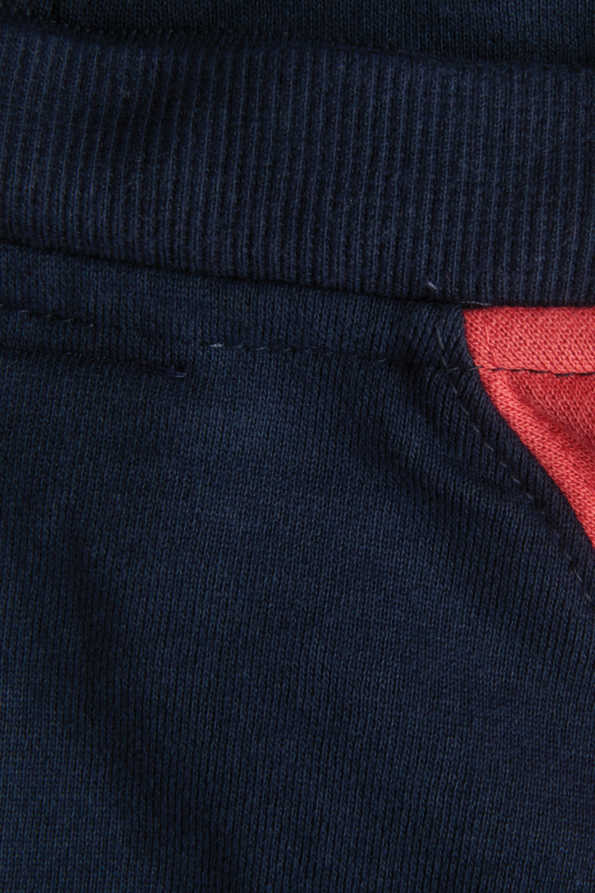kids navy and coral hoody detachable hood and neckline detail