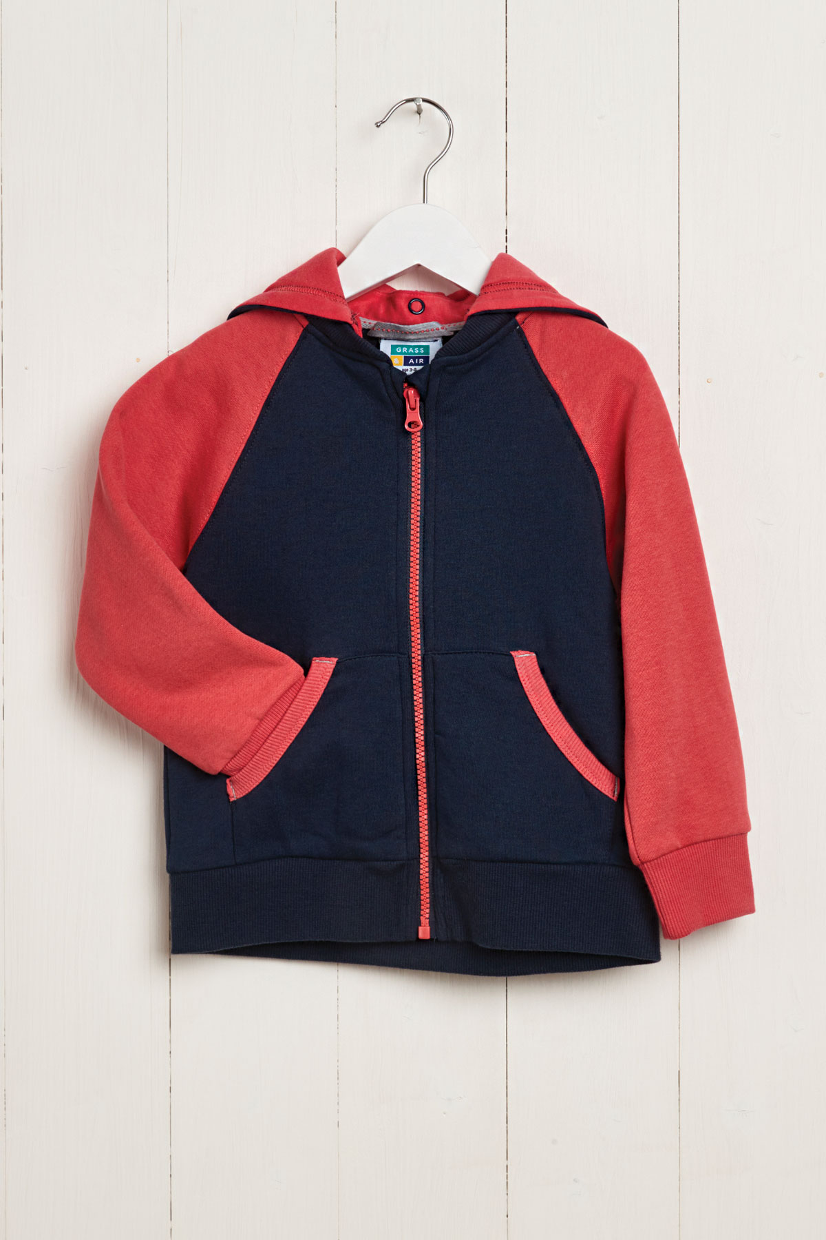 front product hanger view kids navy & coral hoody