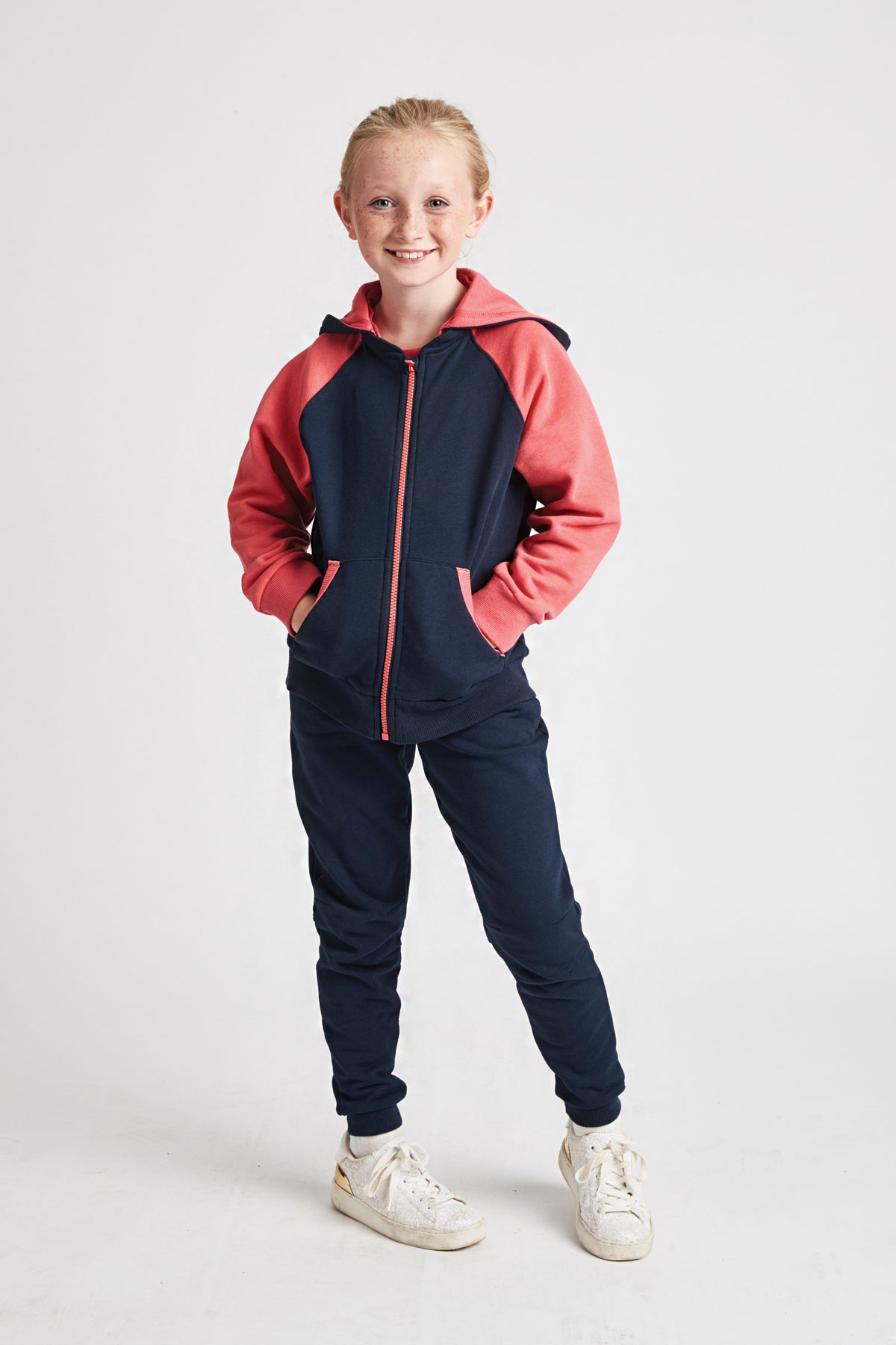 girls navy & coral hoody with detachable hood