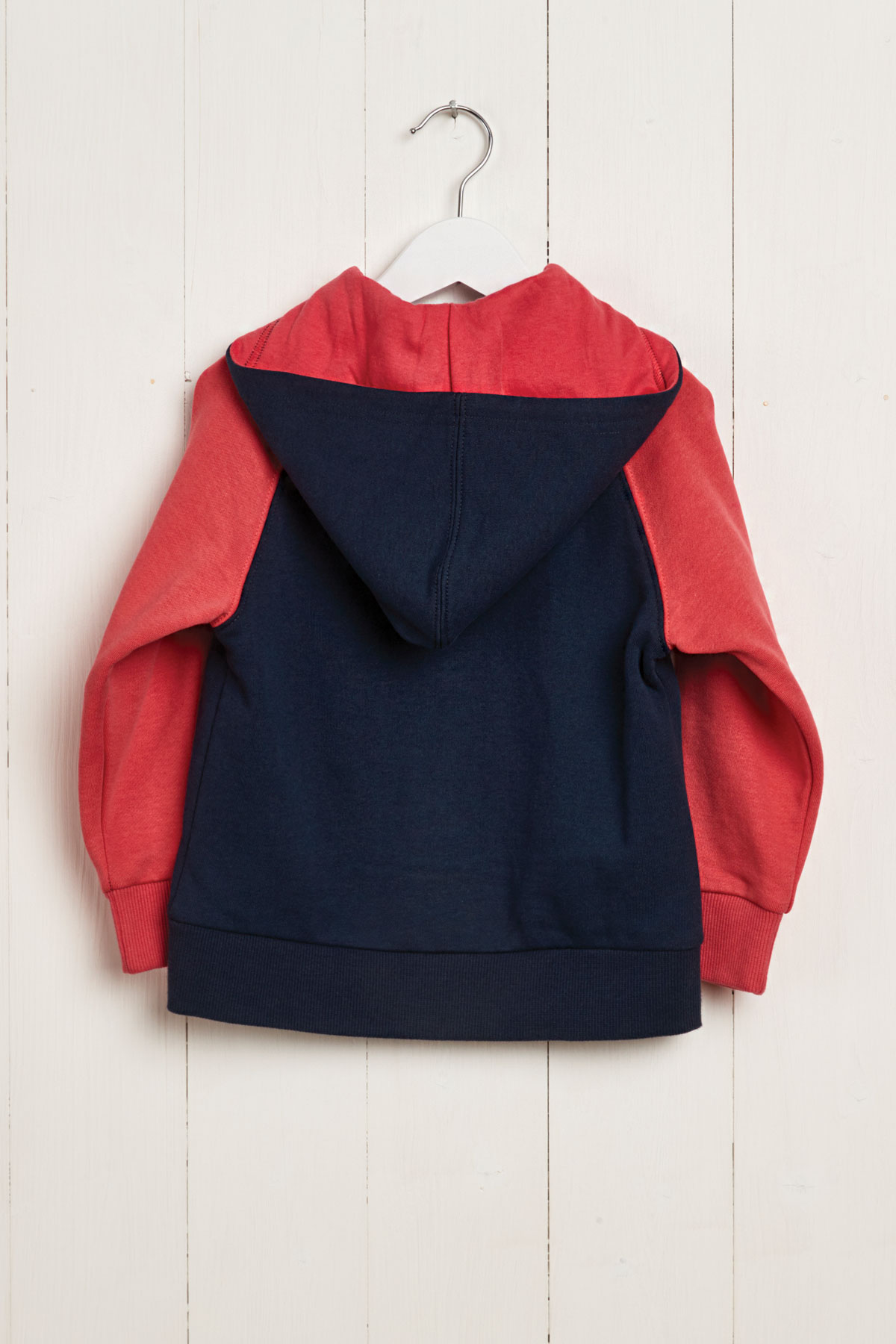 rear product hanger shot navy & coral hoody