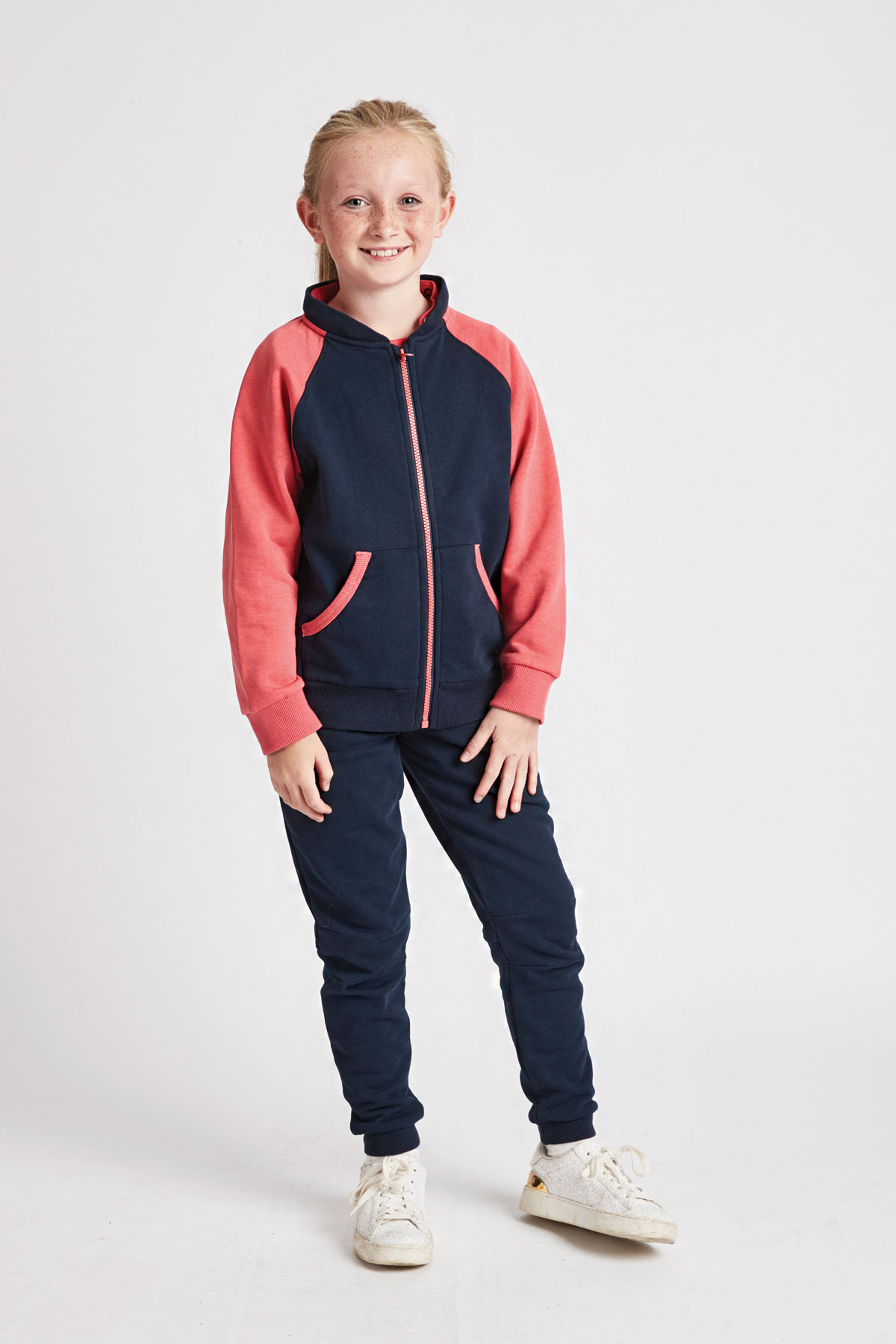 girls navy & coral hoody with detachable hood removed