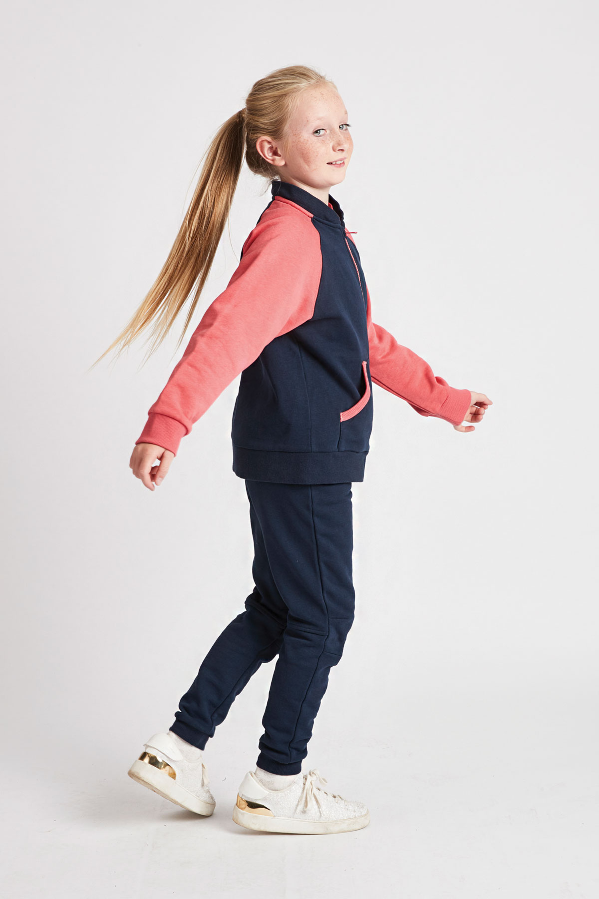 girls navy & coral hoody with detachable hood removed - side view