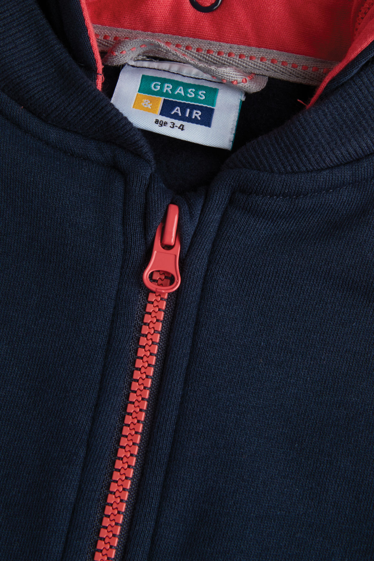navy & coral girls hoody closed zip and label detail