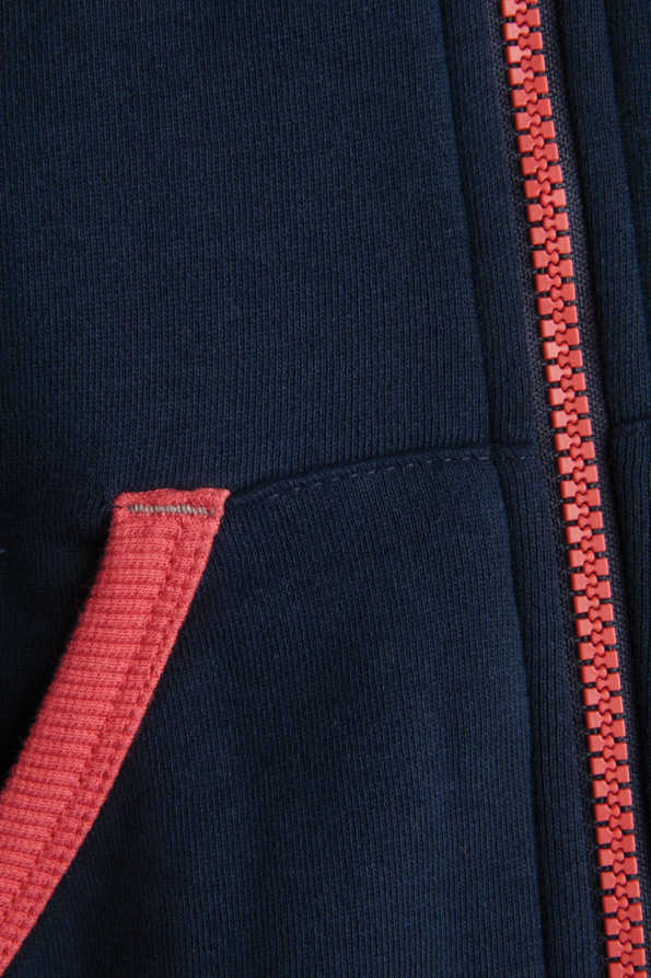 navy and coral kids hoody pocket and zip detail