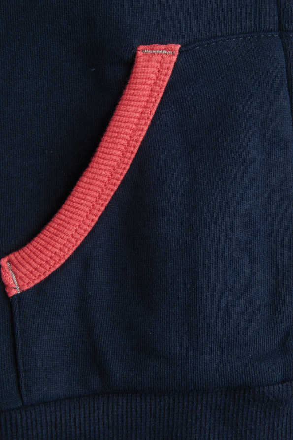 girls navy and coral hoody pocket detailing