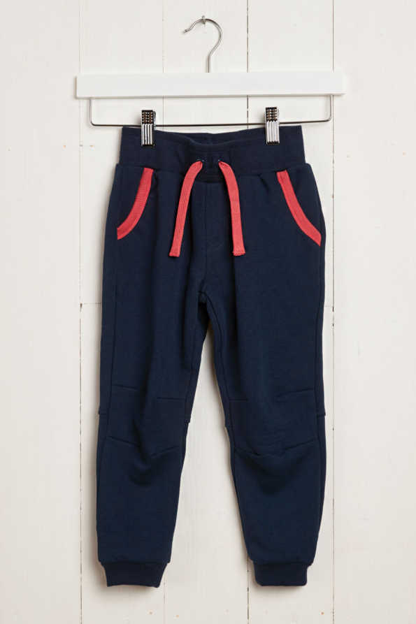 front product view of kids navy jogging bottoms