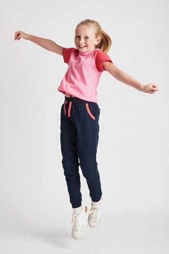 kids navy joggers with coral trim front view