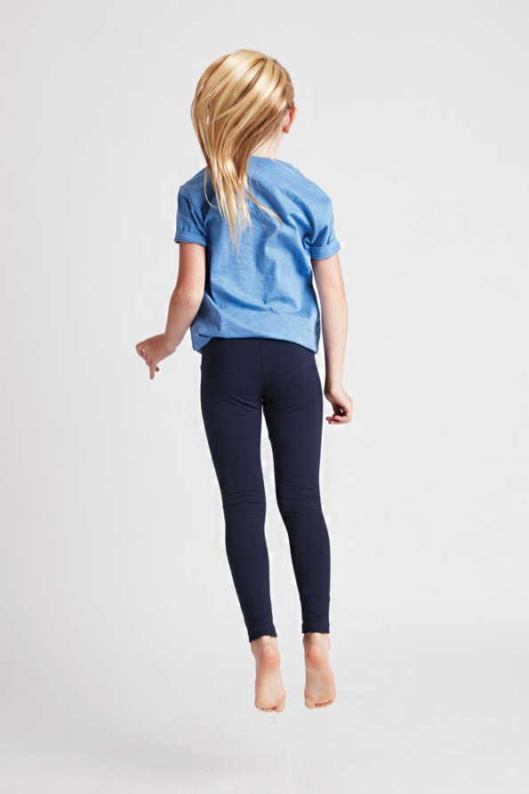 girls navy leggings rear model view
