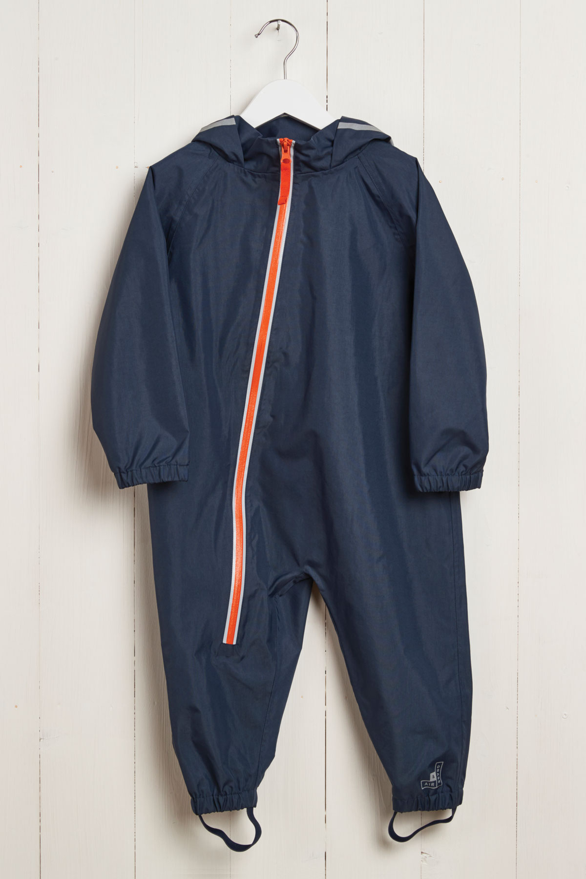 front product view of kids navy puddle suit