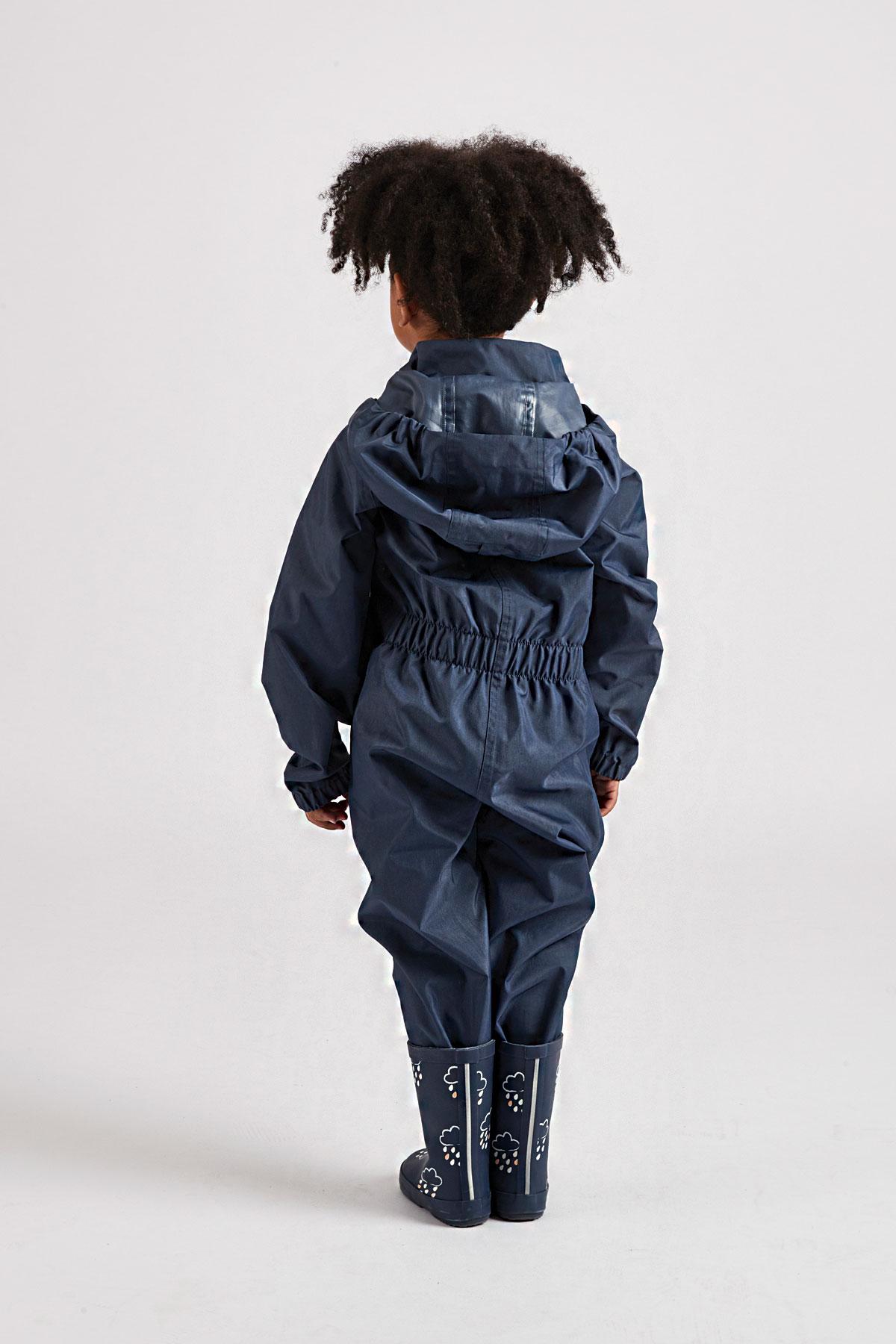children's navy puddle suit: Grass & Air little kids waterproof suit in navy