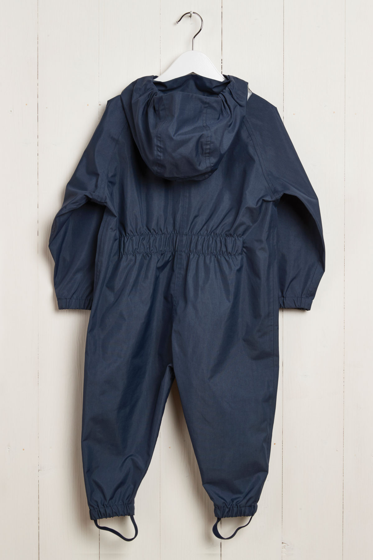 rear product view of navy kids puddle suit