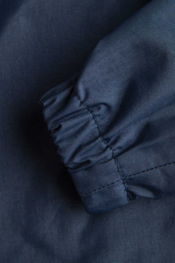 navy rain coat elasticated cuff detail