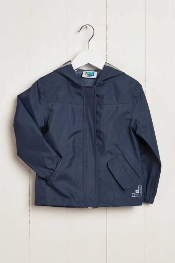 front product hanger shot of kids navy rain jacket
