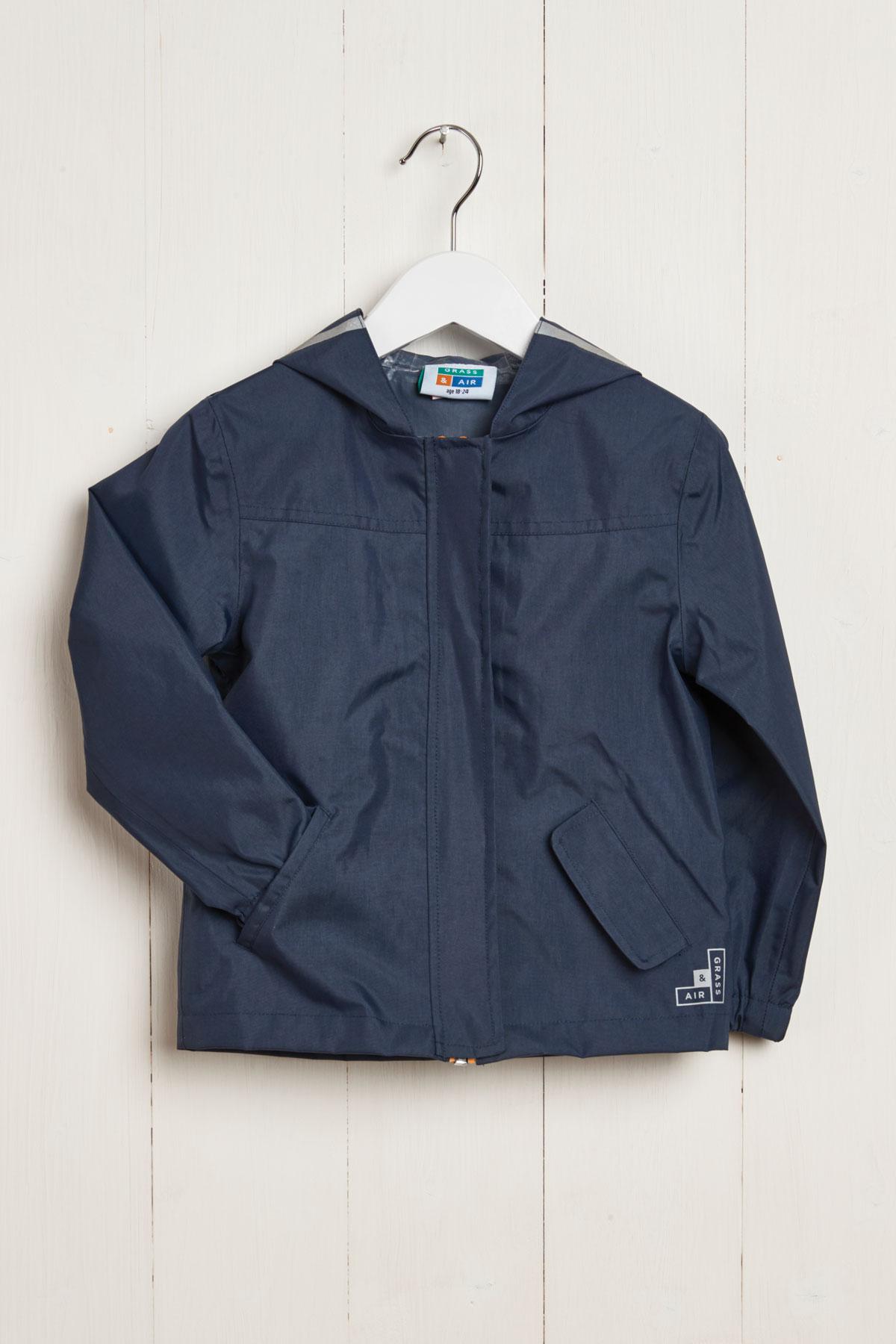 front product hanger shot of kids navy rain jacket