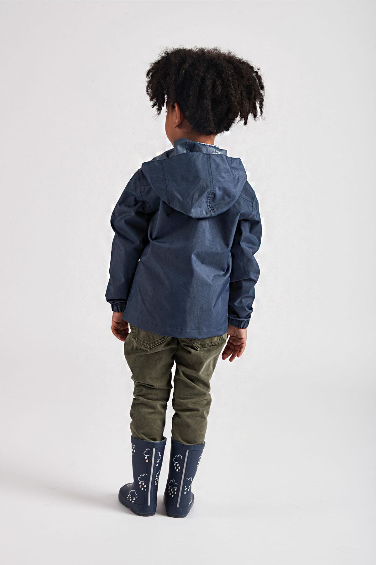 Grass & Air infant navy Rain Cheater - lifestyle rear view