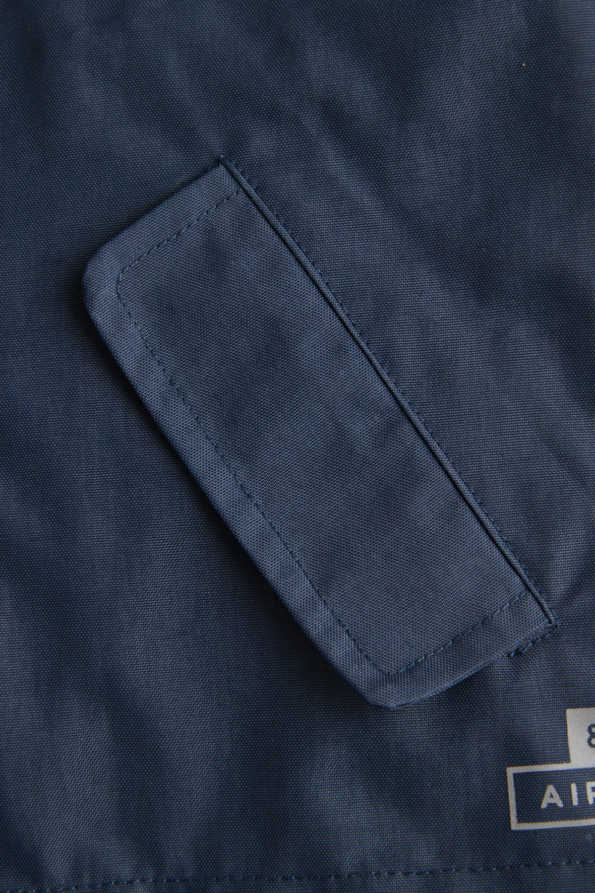 infant navy rain jacket pocket detail