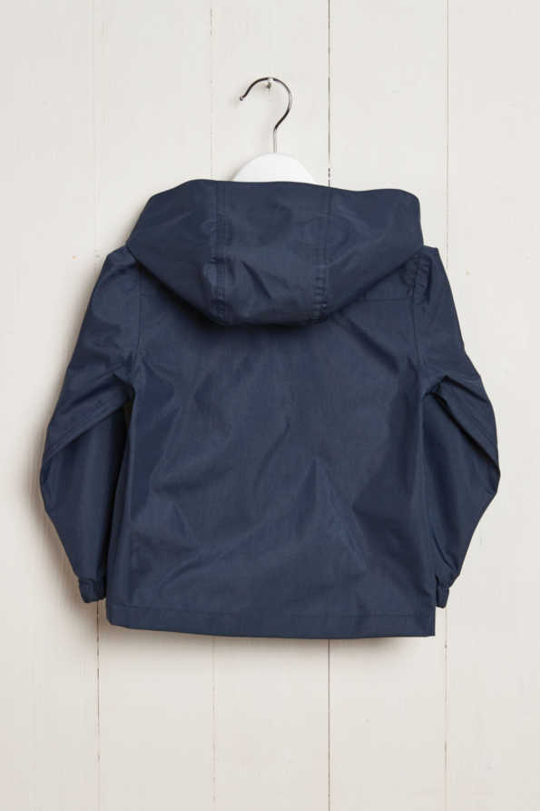 rear product hanger shot of kids navy rain jacket