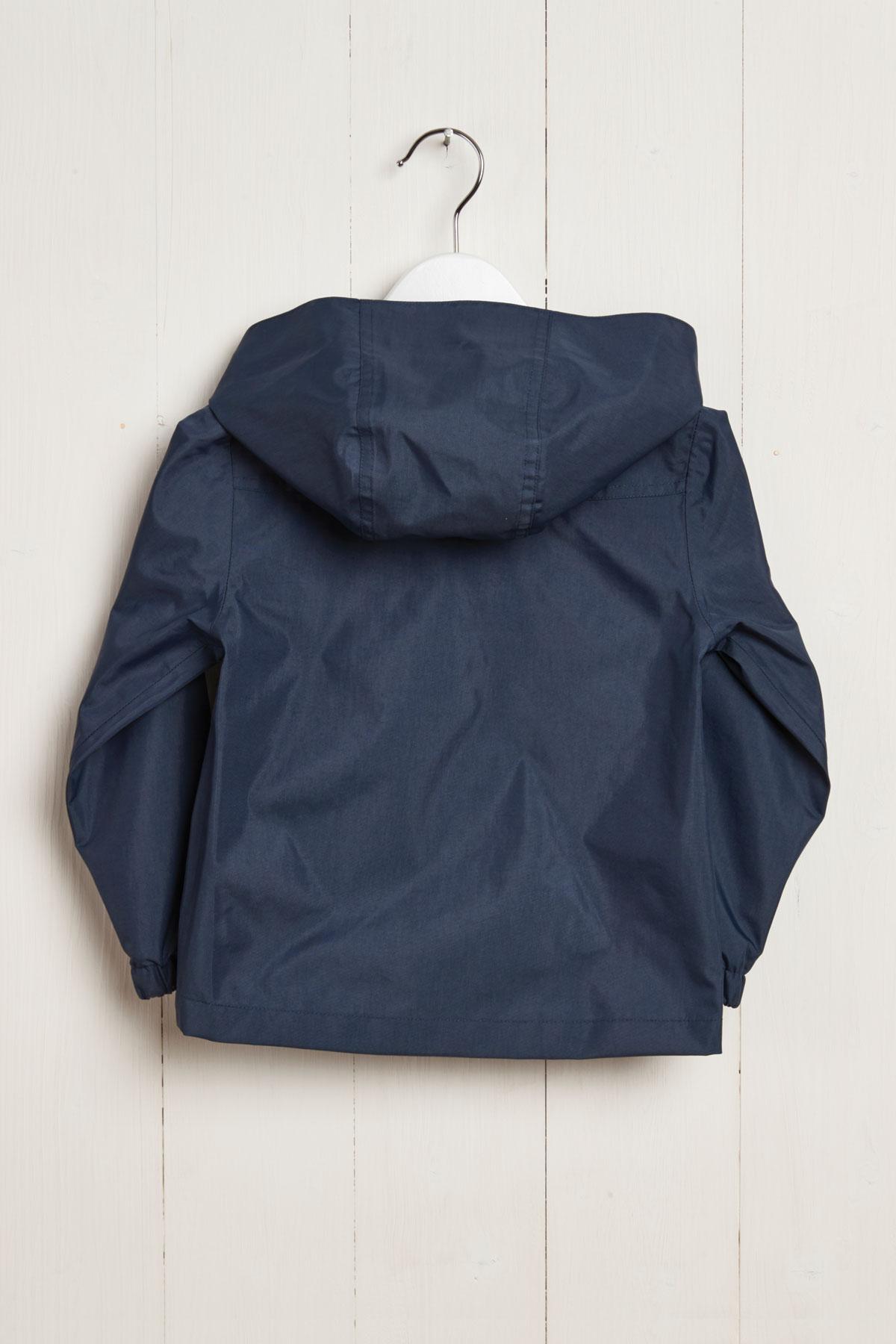 rear product hanger shot of kids navy rain jacket