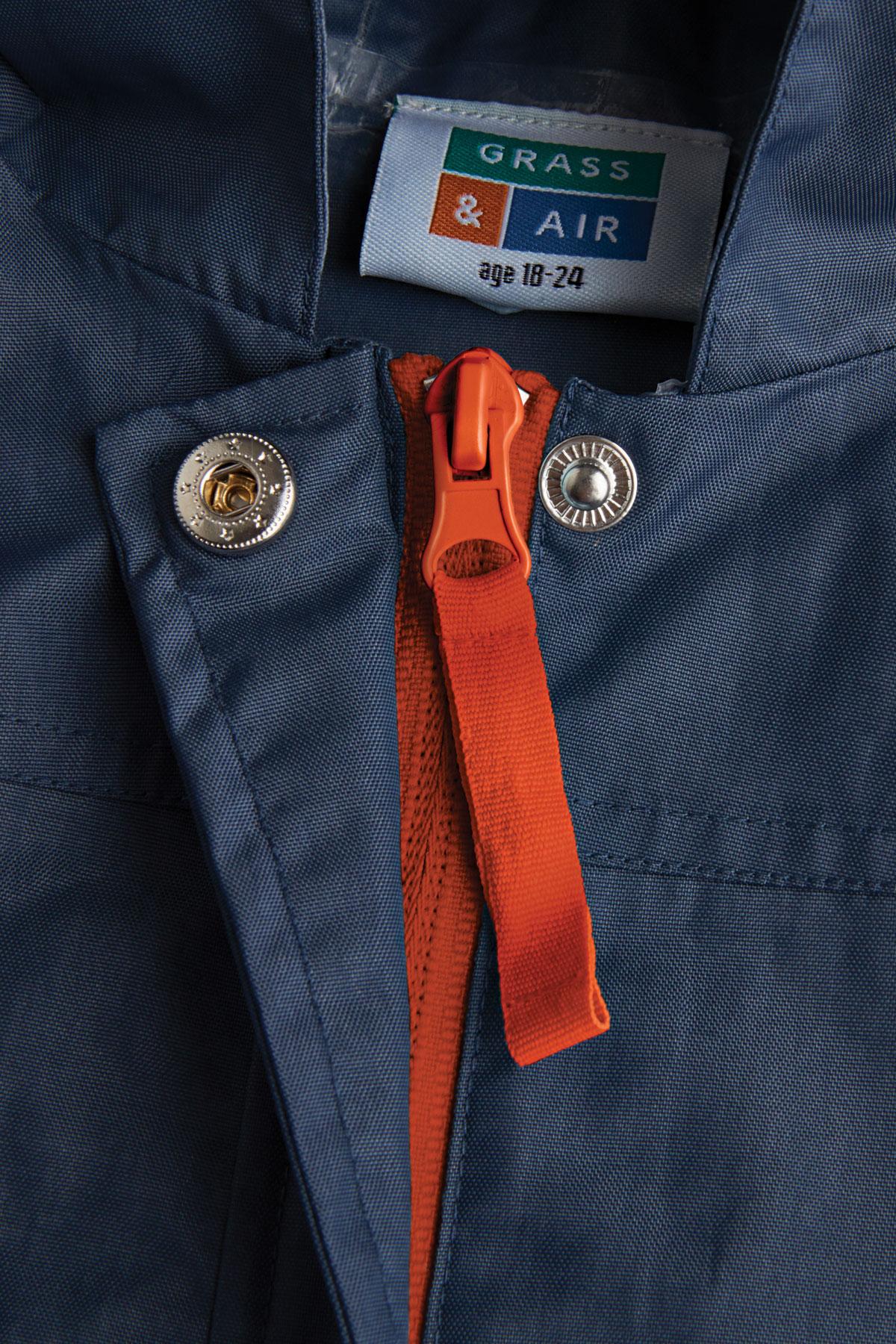 navy rain jacket zip detail
