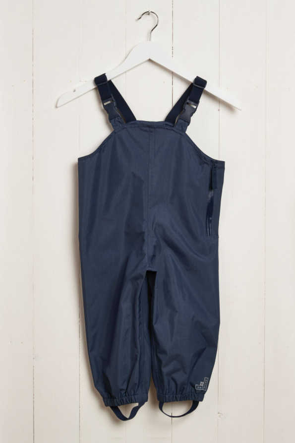 front product hanger shot of kids navy waterproof dungarees