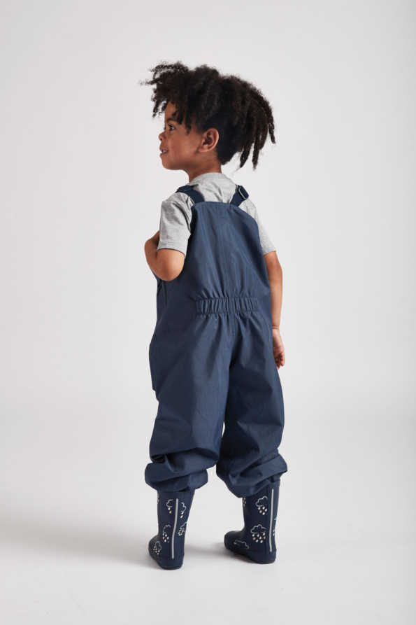 Grass & Air navy Stomper Slacks: Kids navy waterproof dungarees - rear product view