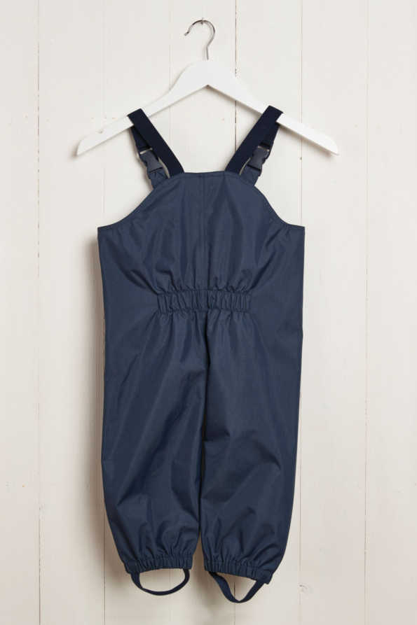 rear product shot of kids navy waterproof dungarees
