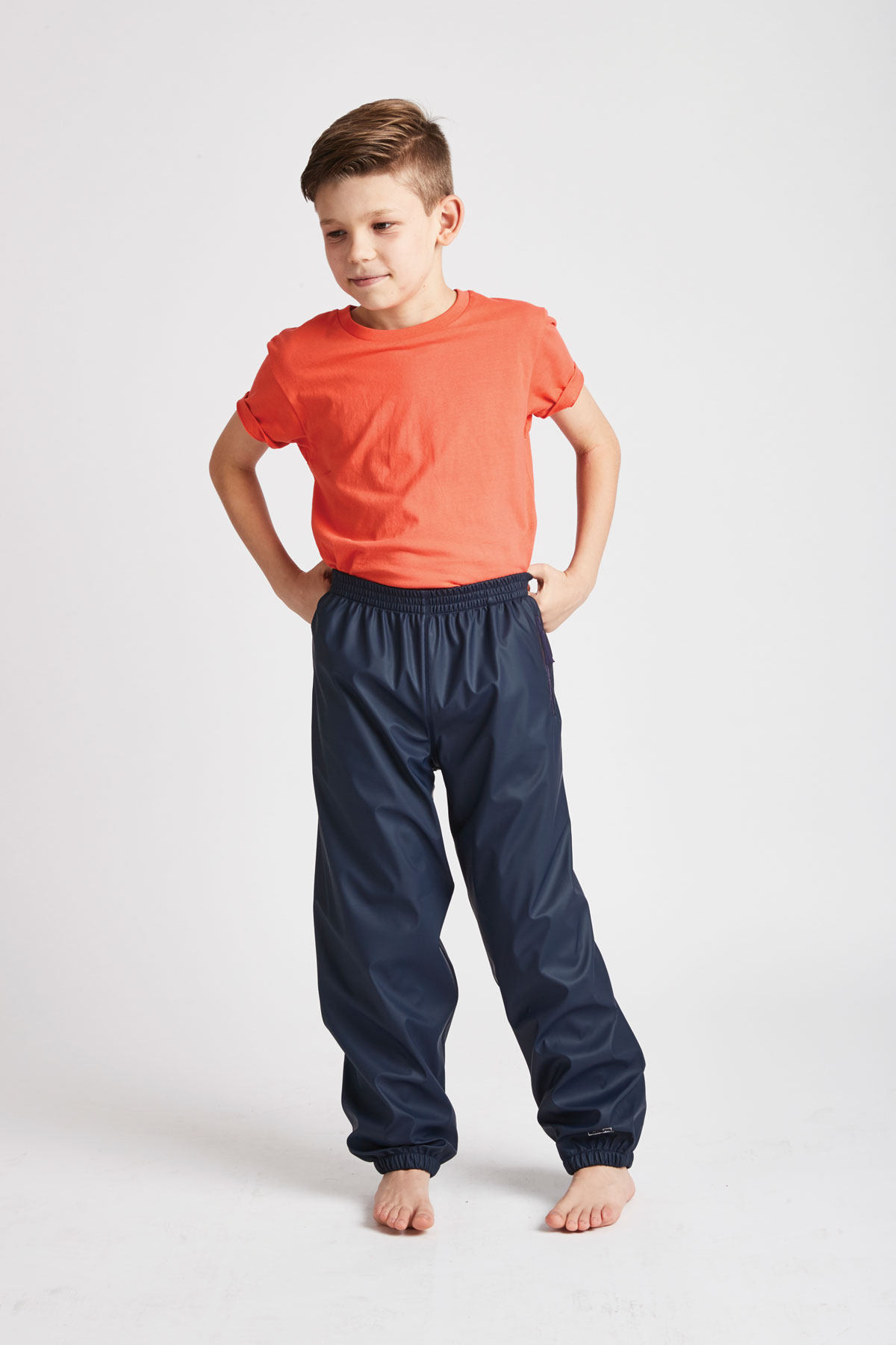 kids navy waterproof trousers front product view