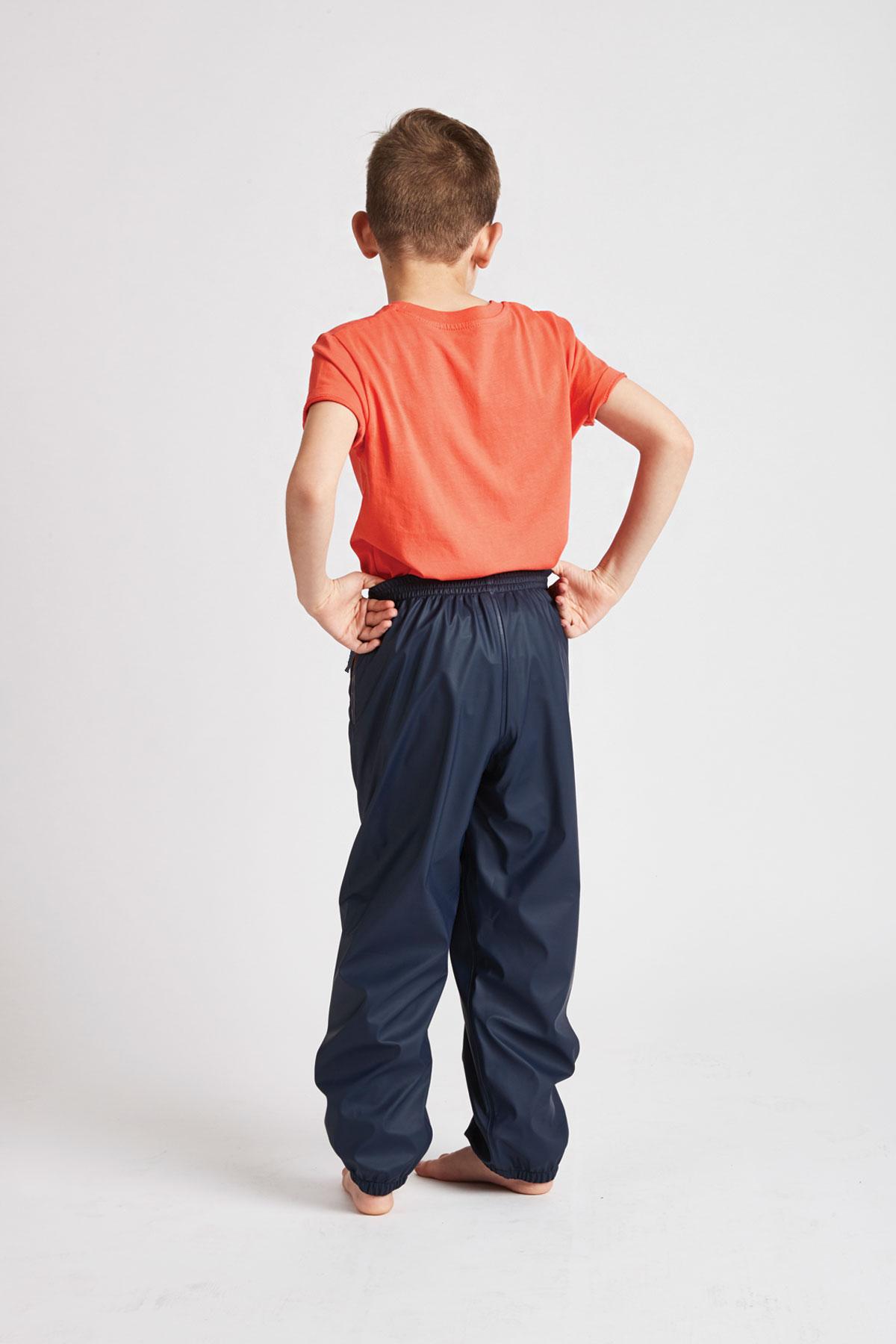 kids unisex waterproof trousers in navy: rear product view