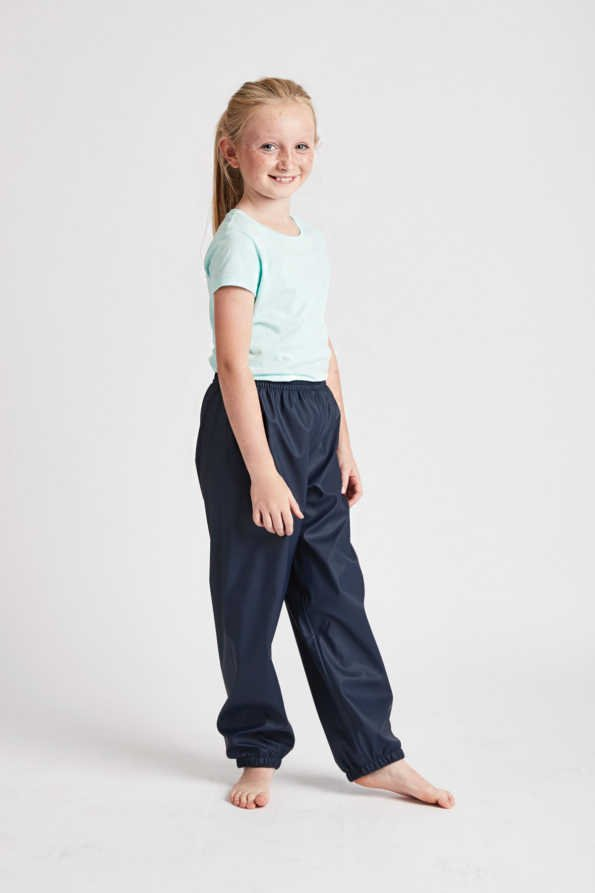 unisex kids waterproof trousers: waterproof navy Rain Runners for girls and boys