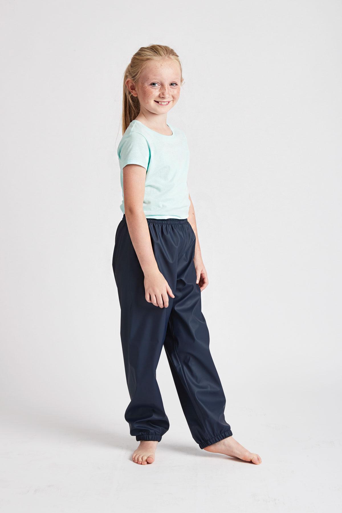 unisex kids waterproof trousers: waterproof navy Rain Runners for girls and boys