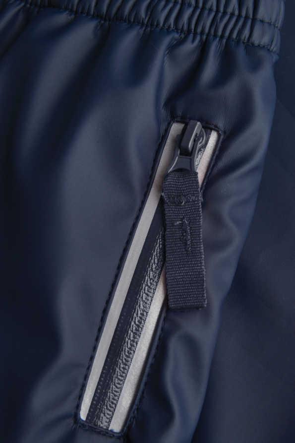 kids navy waterproof trouser reflective zip detail