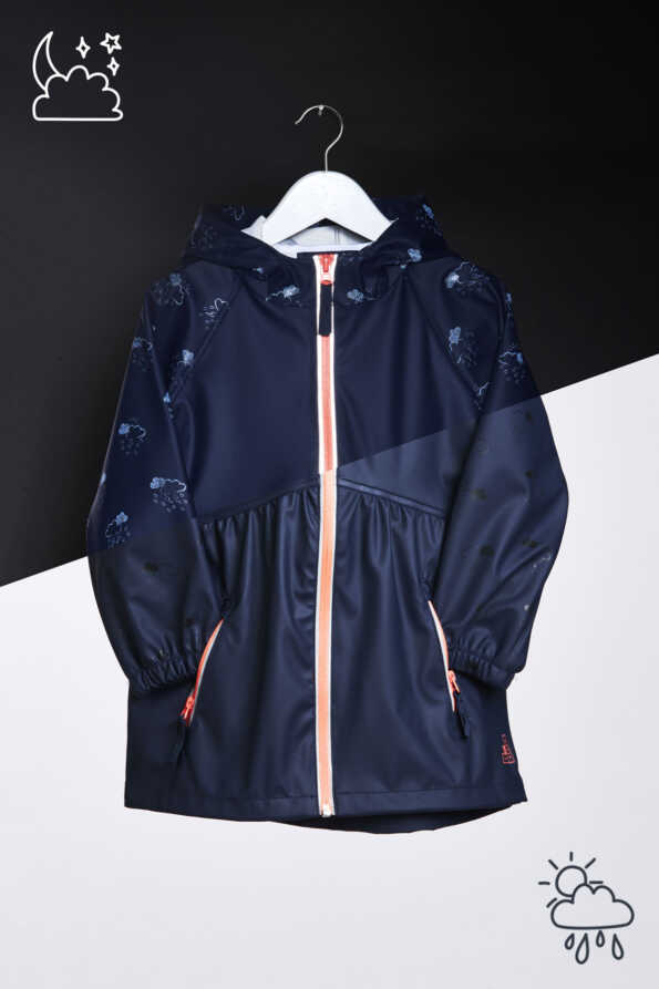 Girls Navy Raincloud Light Catcher reflective rain mac. reflective night print vs subtle day print comparison