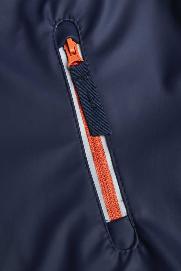 lightning bolt light catcher rain mac orange and reflective zip detailing