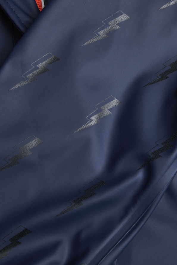 lightning bolt reflective rain mac subtle tonal pattern detail