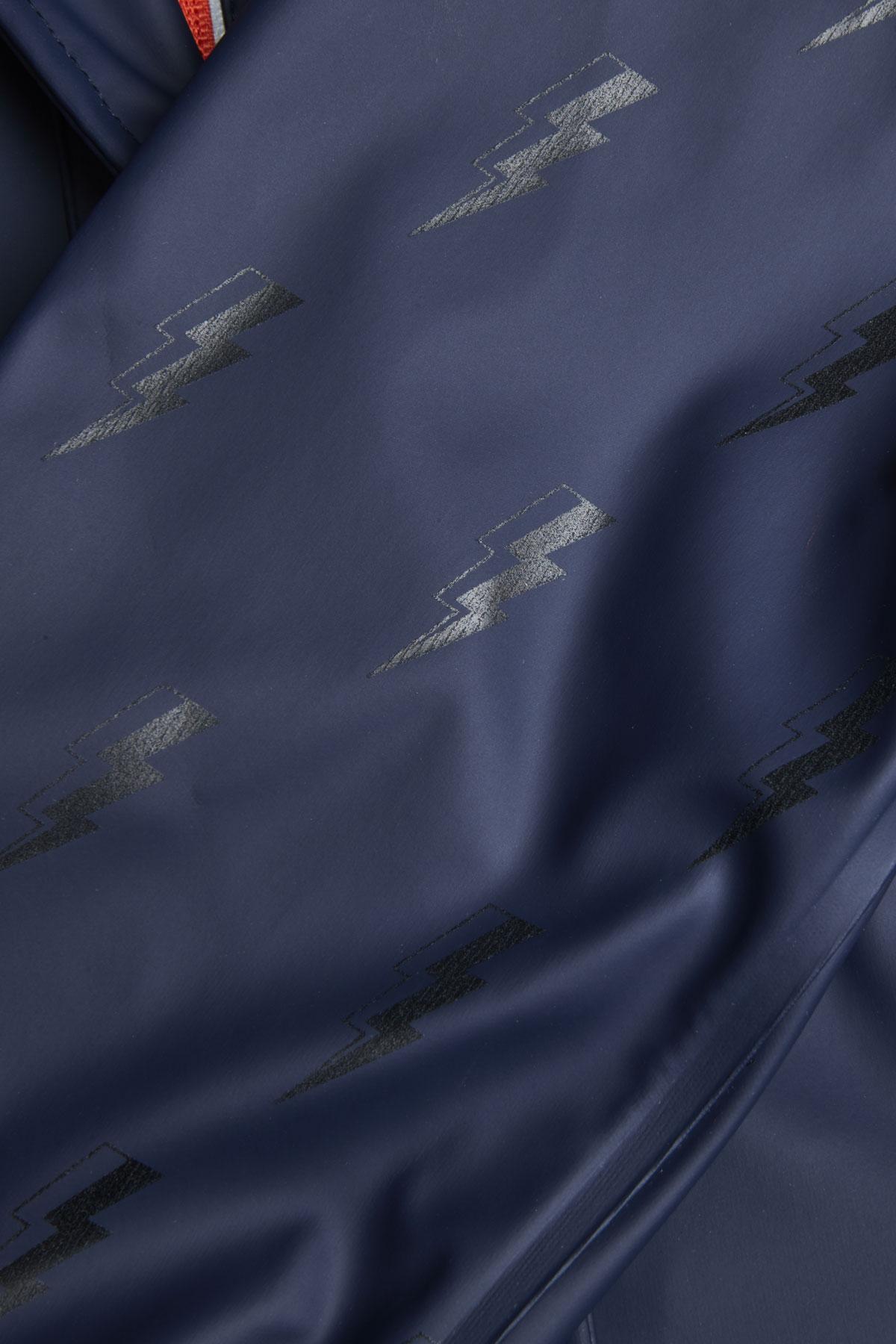 lightning bolt reflective rain mac subtle tonal pattern detail