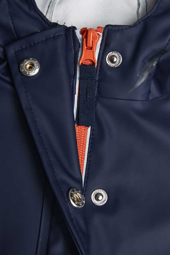 reflective light catcher rain mac zip and press stud detail
