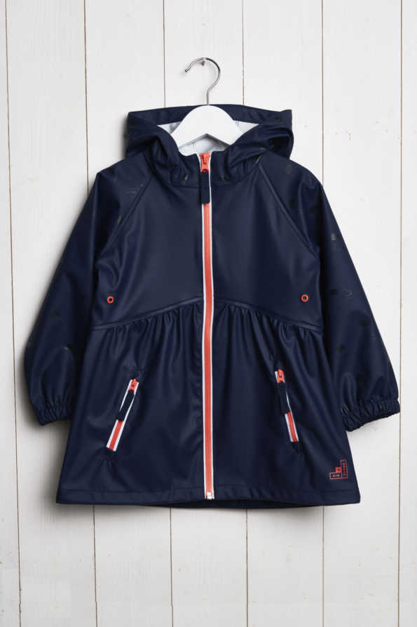 girls raincloud navy reflective rain coat product hanger shot (front view)