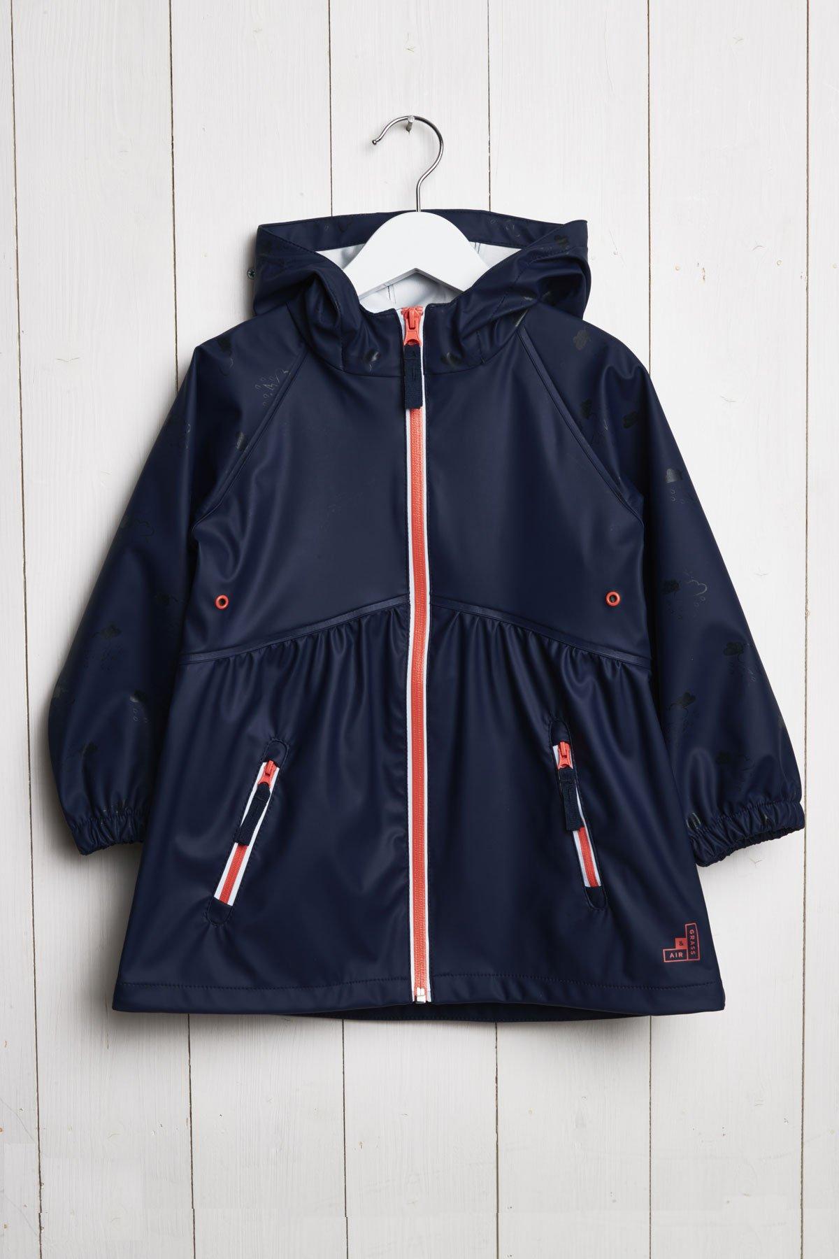 girls raincloud navy reflective rain coat product hanger shot (front view)