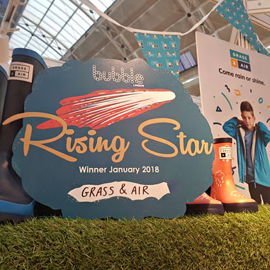 Grass & Air rising star winners plaque on our Bubble London exhibition stand