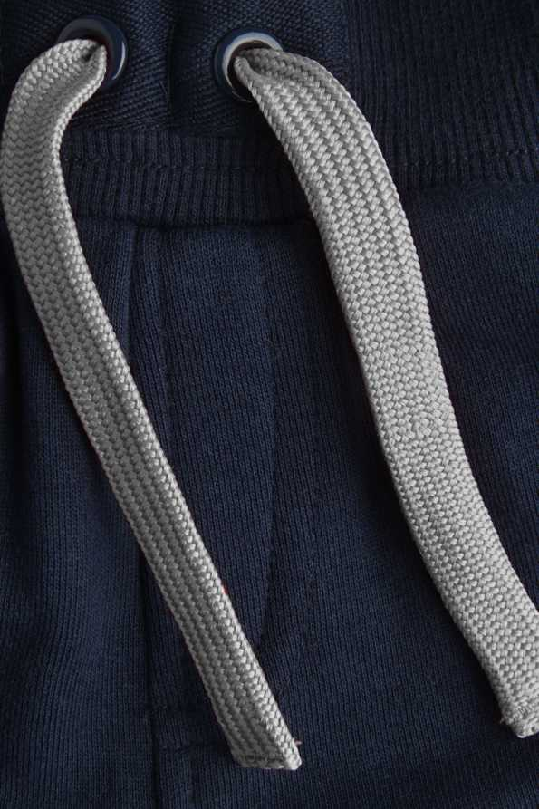 children's navy and grey joggers: grey drawstring detail