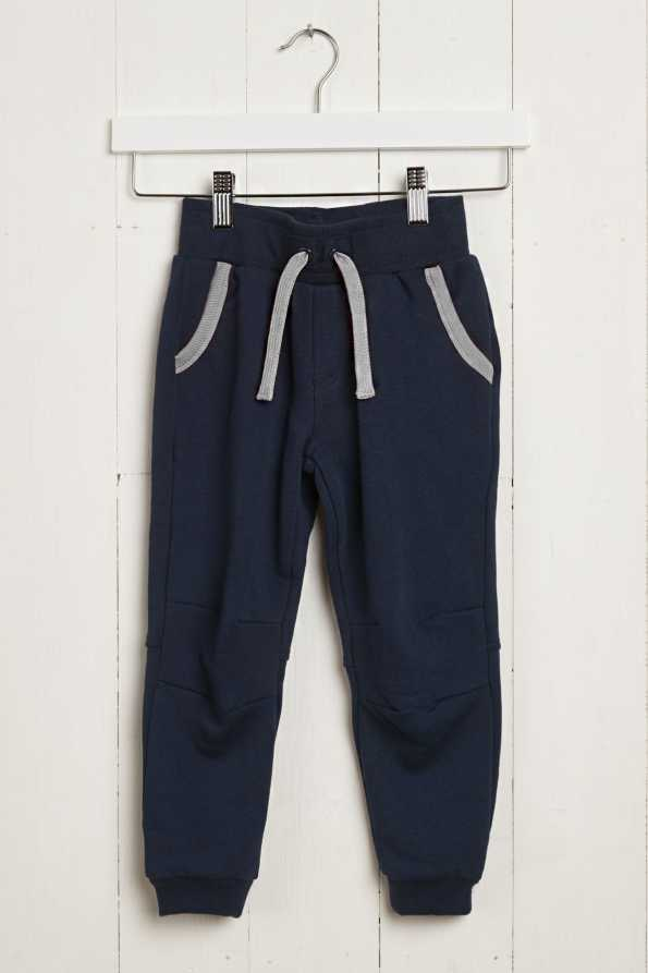 kids navy joggers with grey contrast pockets and drawstring: front product view